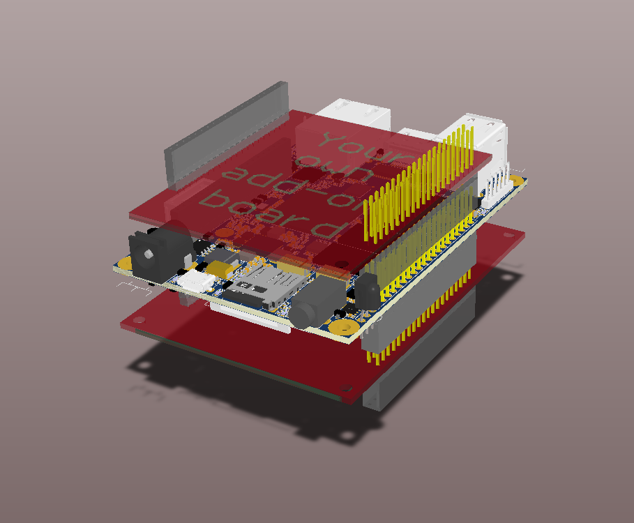 OpenRex V1I1 - 3D Model with add-on boards - Default view