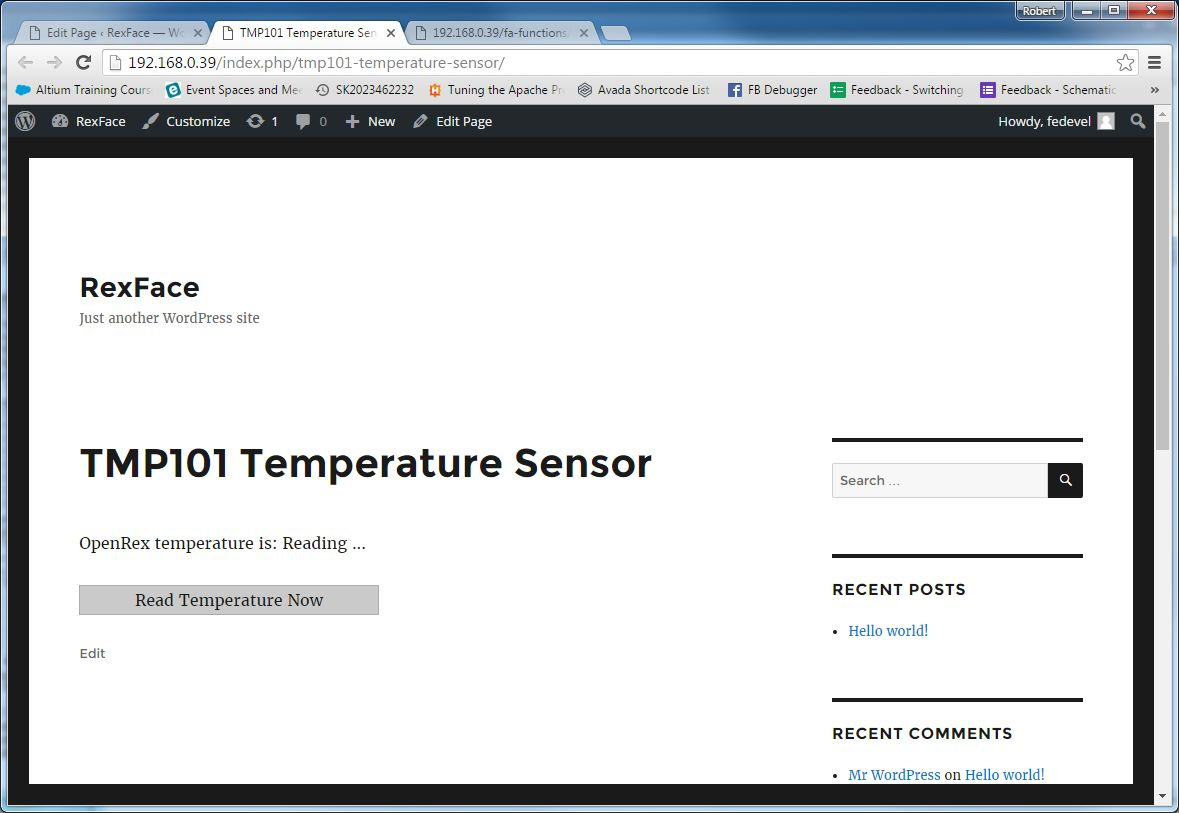 TMP101 Temperature Sensor page - Button