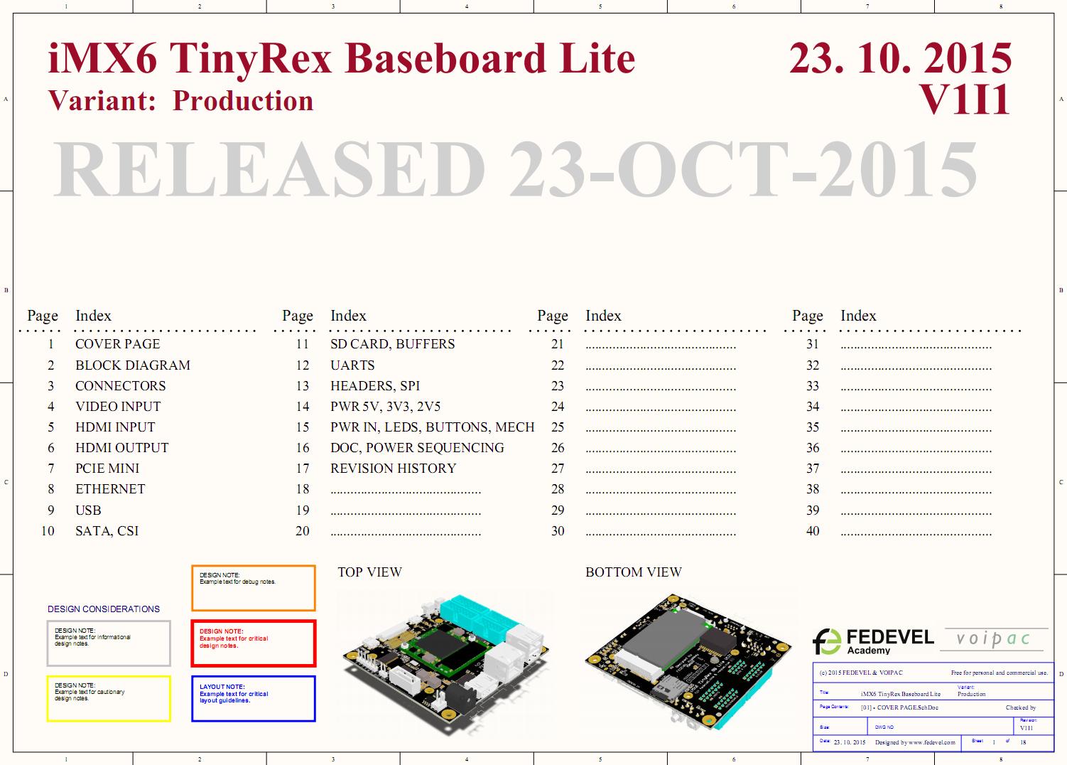 iMX6 TinyRex Baseboard Lite V1I1 - Schematic